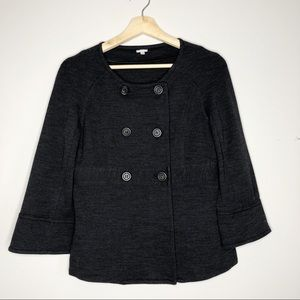J. CREW Knit Collarless Jacket Charcoal Size S